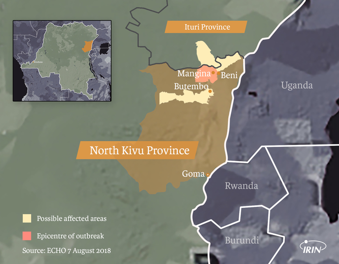 Map of Congo showing North Kivu Province, Ituri Province, Butembo, Beni, Mangina and latest ebola outbreak information as of 7 August 2018