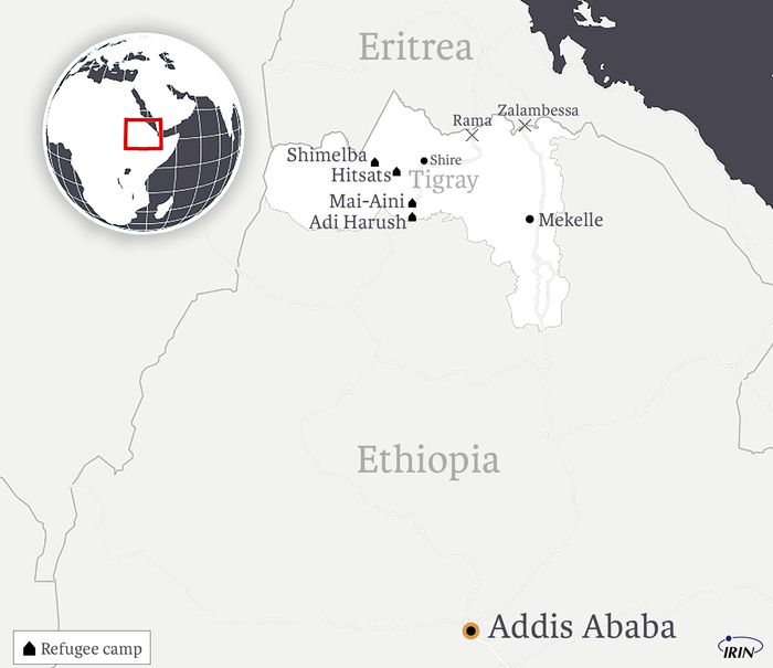 Map of Ethiopia showing Eritrea, Tigray, and refugee camps