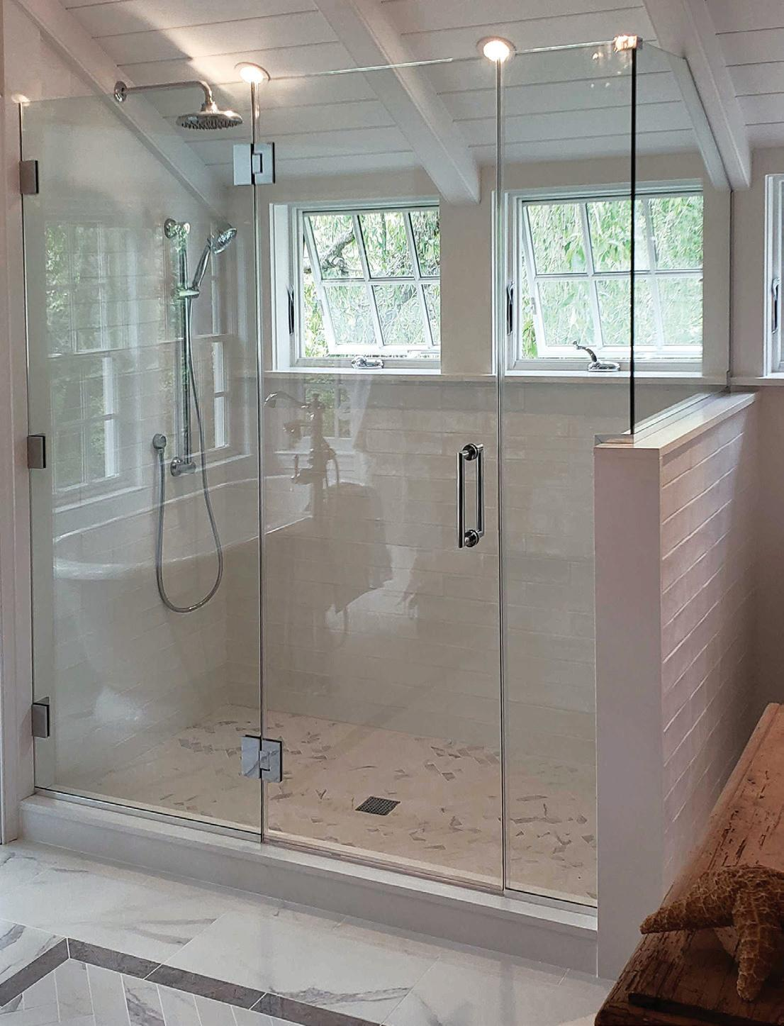 glass shower doors or shower curtains