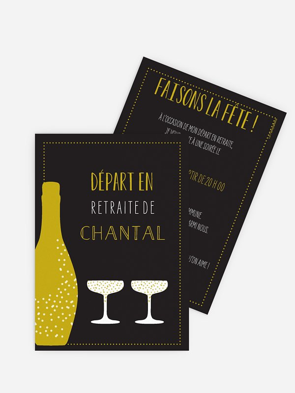 carte invitation depart retraite champagne