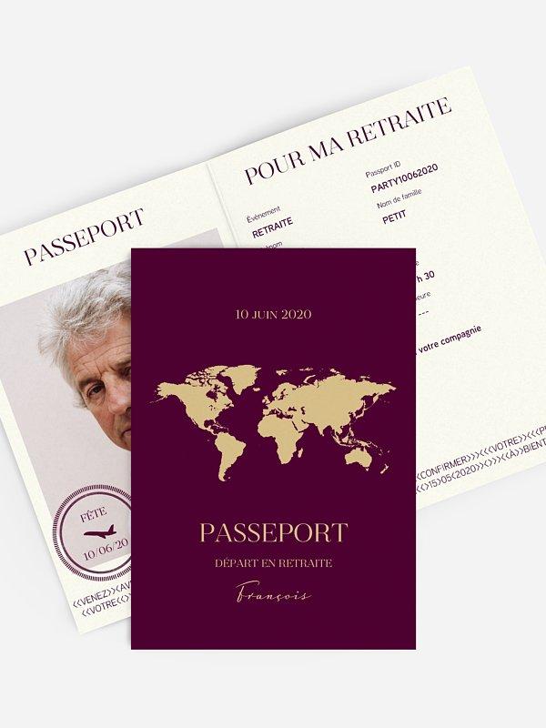 carte invitation depart retraite passeport chic
