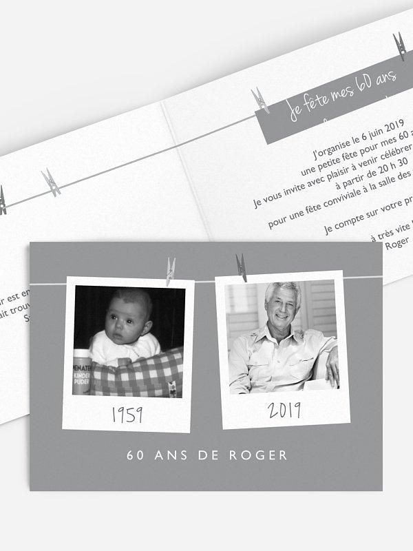 invitation anniversaire 60 polaroid en fete