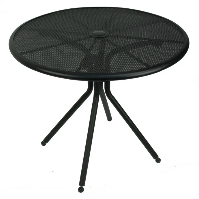 american tables seating ab36 36 round outdoor table w umbrella hole aluminum black