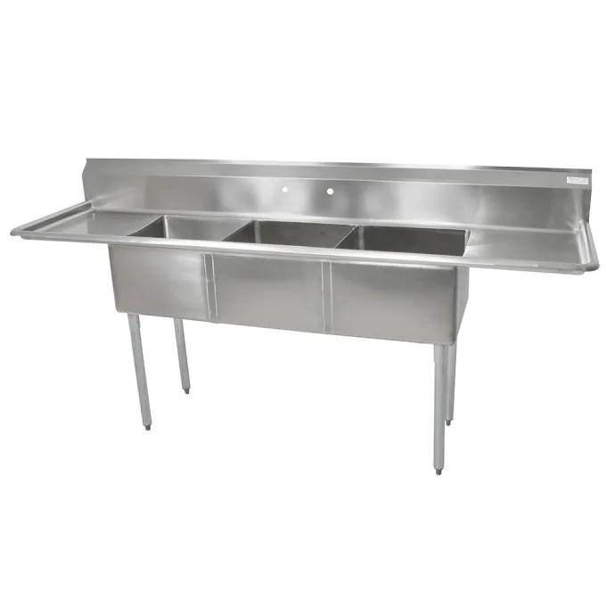 john boos e3s8 15 14t15 75 3 compartment sink w 15 l x 15 w bowl 14 deep