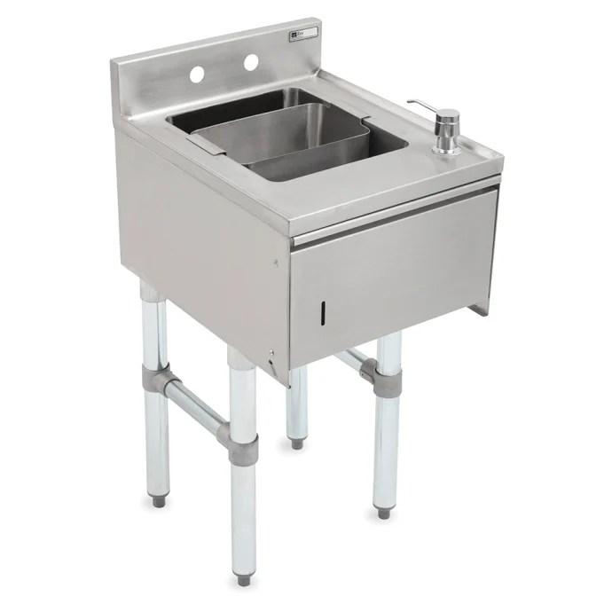 john boos eubds 1221std underbar dump sink w stainless steel legs 12 x 21 1 4 x 33 1 8