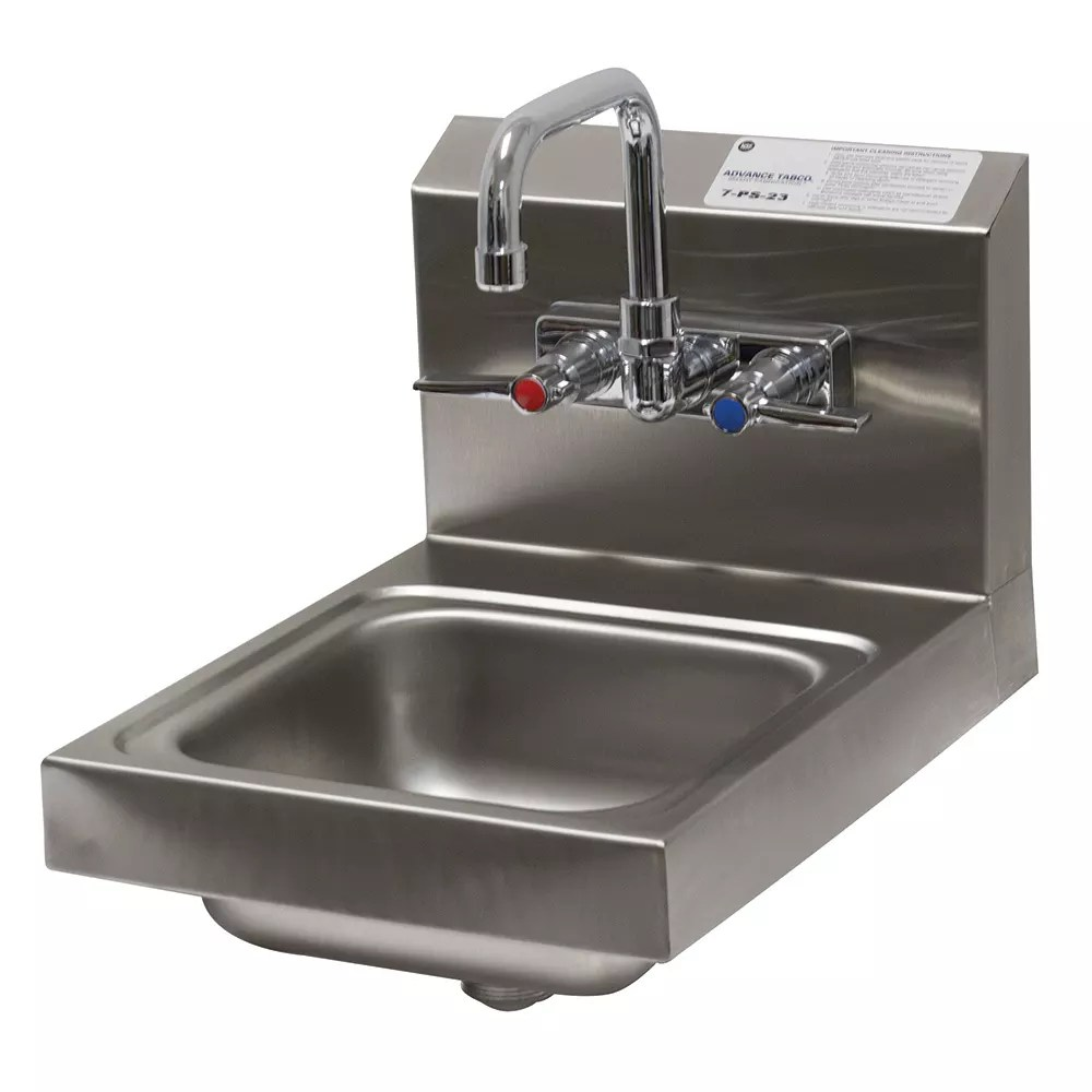 advance tabco 7 ps 23 wall mount commercial hand sink w 9 l x 9 w x 5 d bowl standard faucet