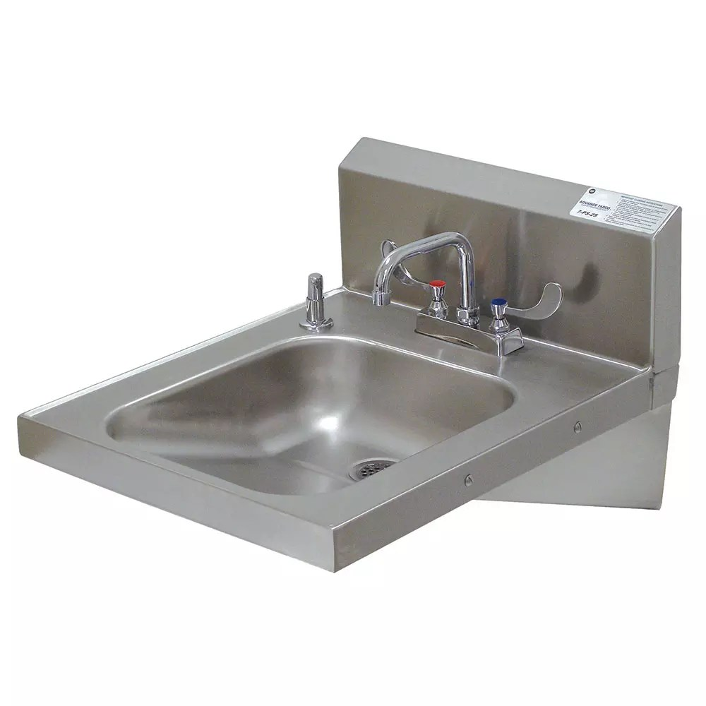 advance tabco 7 ps 25 wall mount commercial hand sink w 14 l x 16 w x 5 d bowl ada compliant