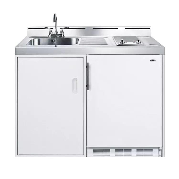 summit c48elglass 48 all in one combo kitchen refrigerator freezer 2 burner 1 cabinet 115v