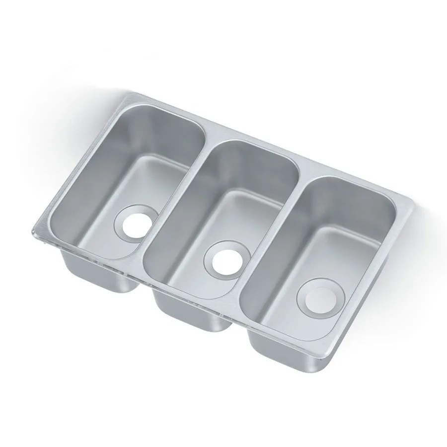 vollrath 12065 3 3 compartment drop in sink 6 1 8 x 12 1 8