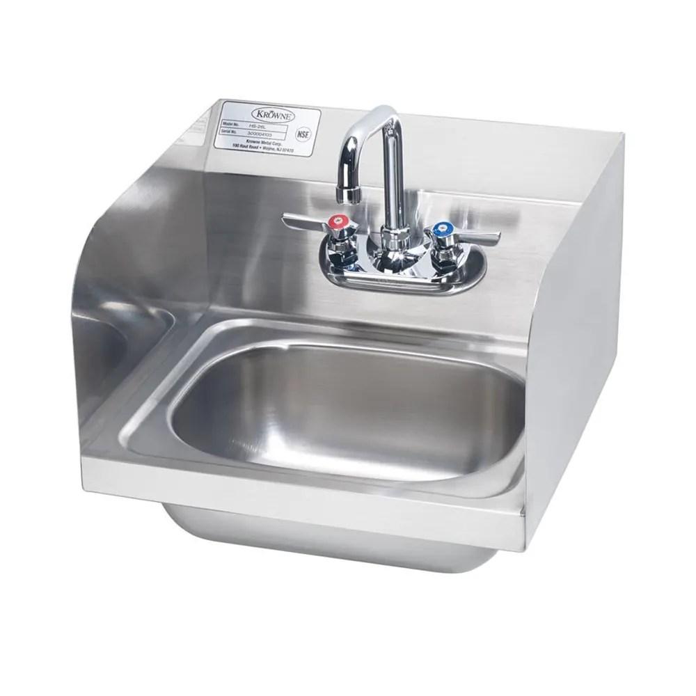 krowne hs 26l wall mount commercial hand sink w 14 l x 10 w x 6 d bowl gooseneck faucet