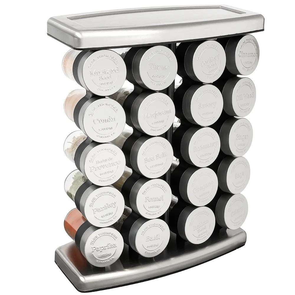 olde thompson 25 728 traditional spice rack w 20 spice jars stainless steel 14 h