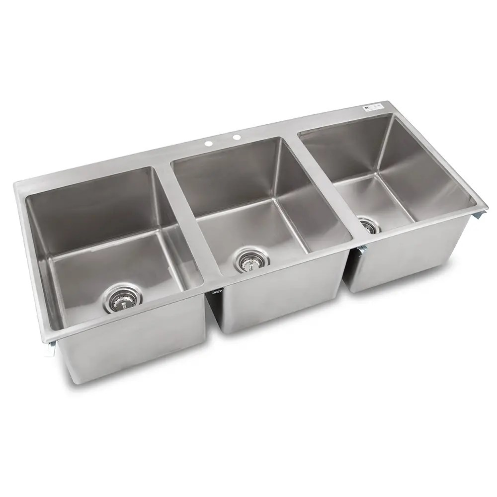 john boos pb disink162012 3 3 compartment drop in sink 16 x 20 drain included