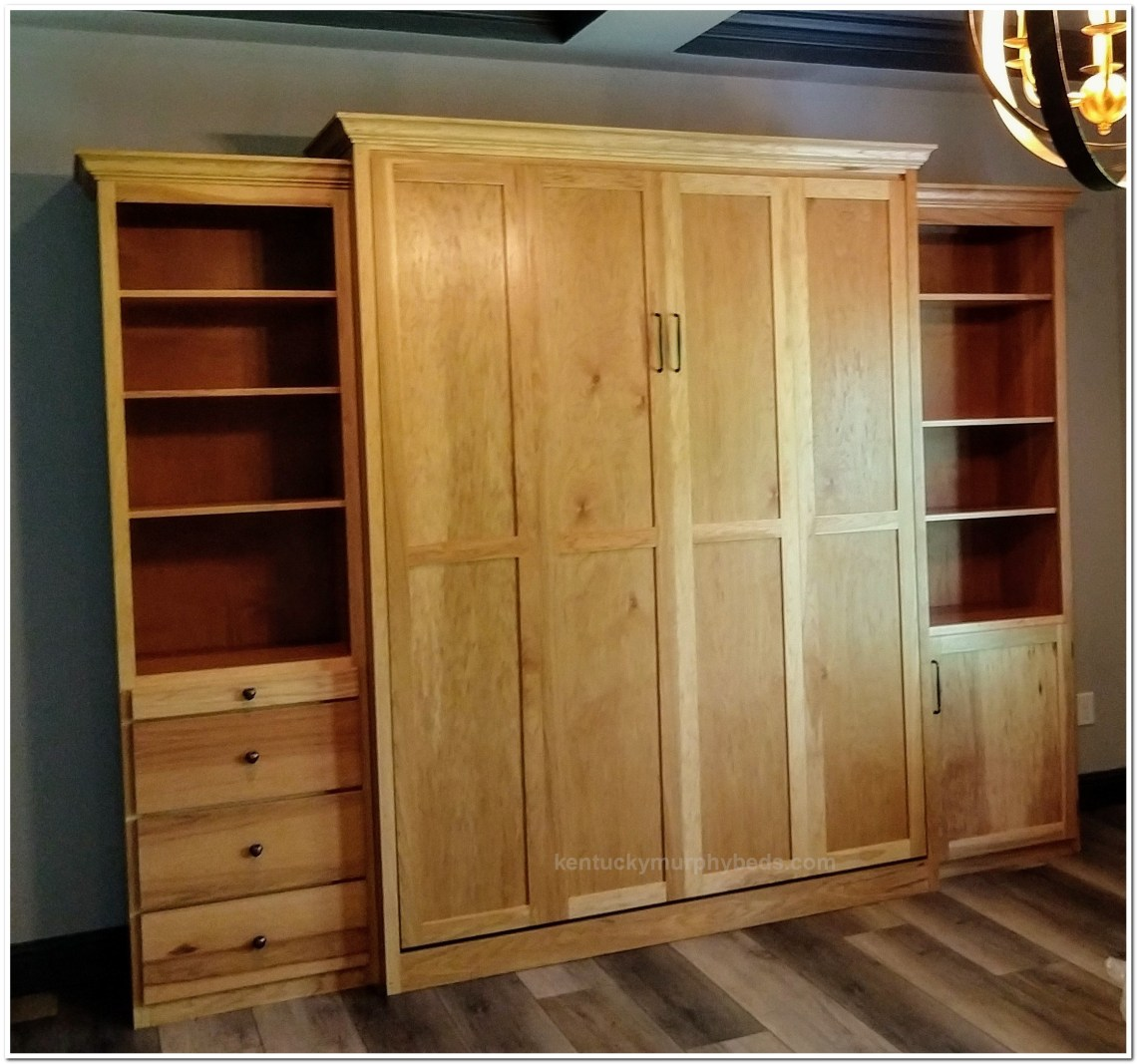 queen murphy bed of hickory.Two bookcases with adjustable shelves.