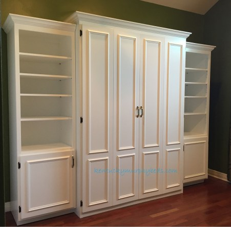 hite-painted-MDF-queen-size-Murphy-bed-flat panel surface trimmedl-doors-two-bookcases