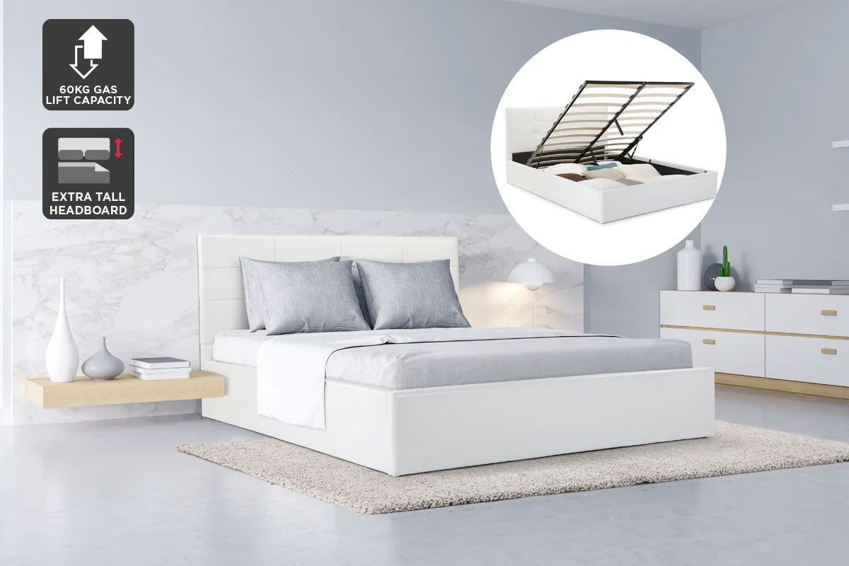 ovela bed frame siena gas lift collection white queen