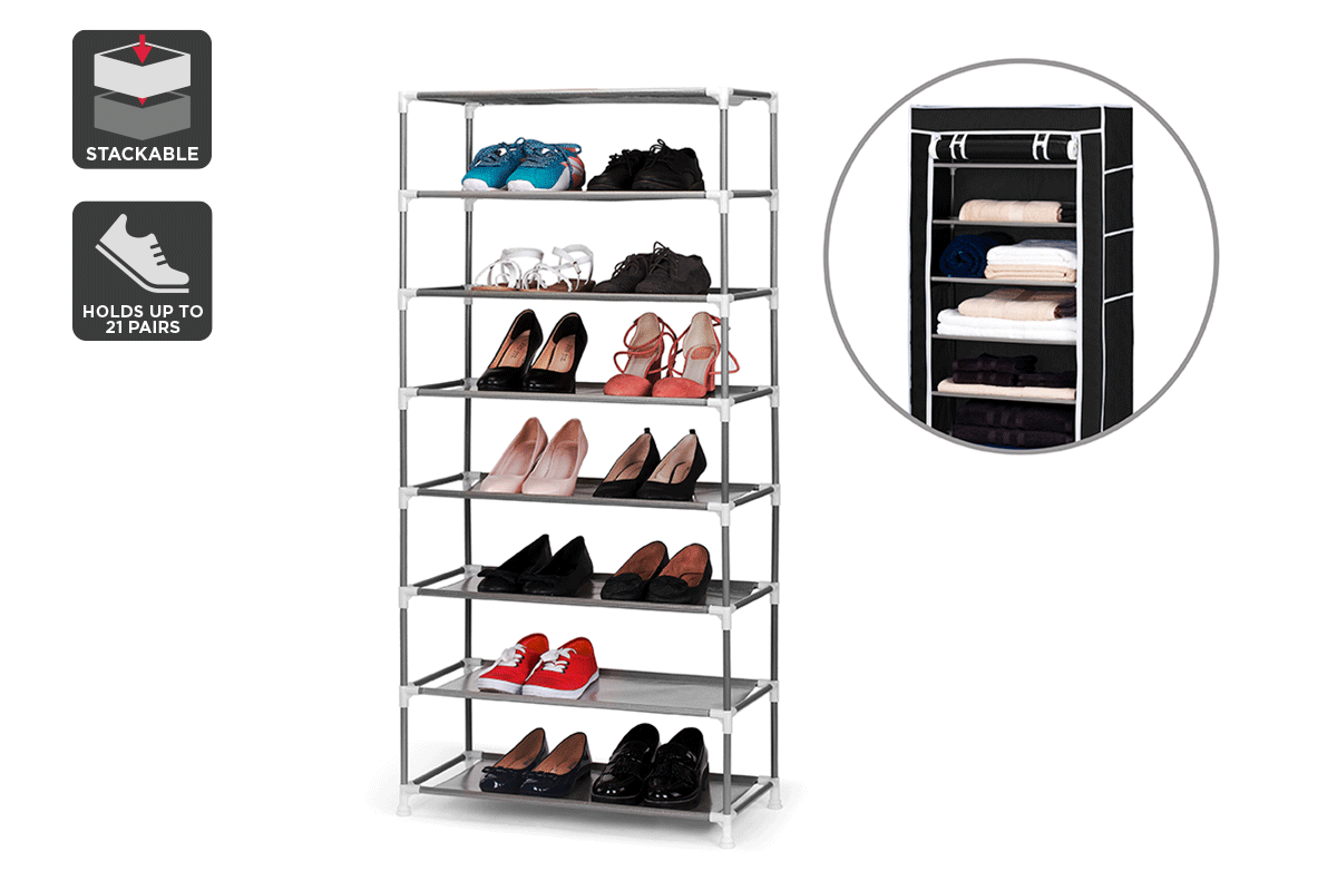 ovela stackable shoe rack and storage wardrobe black