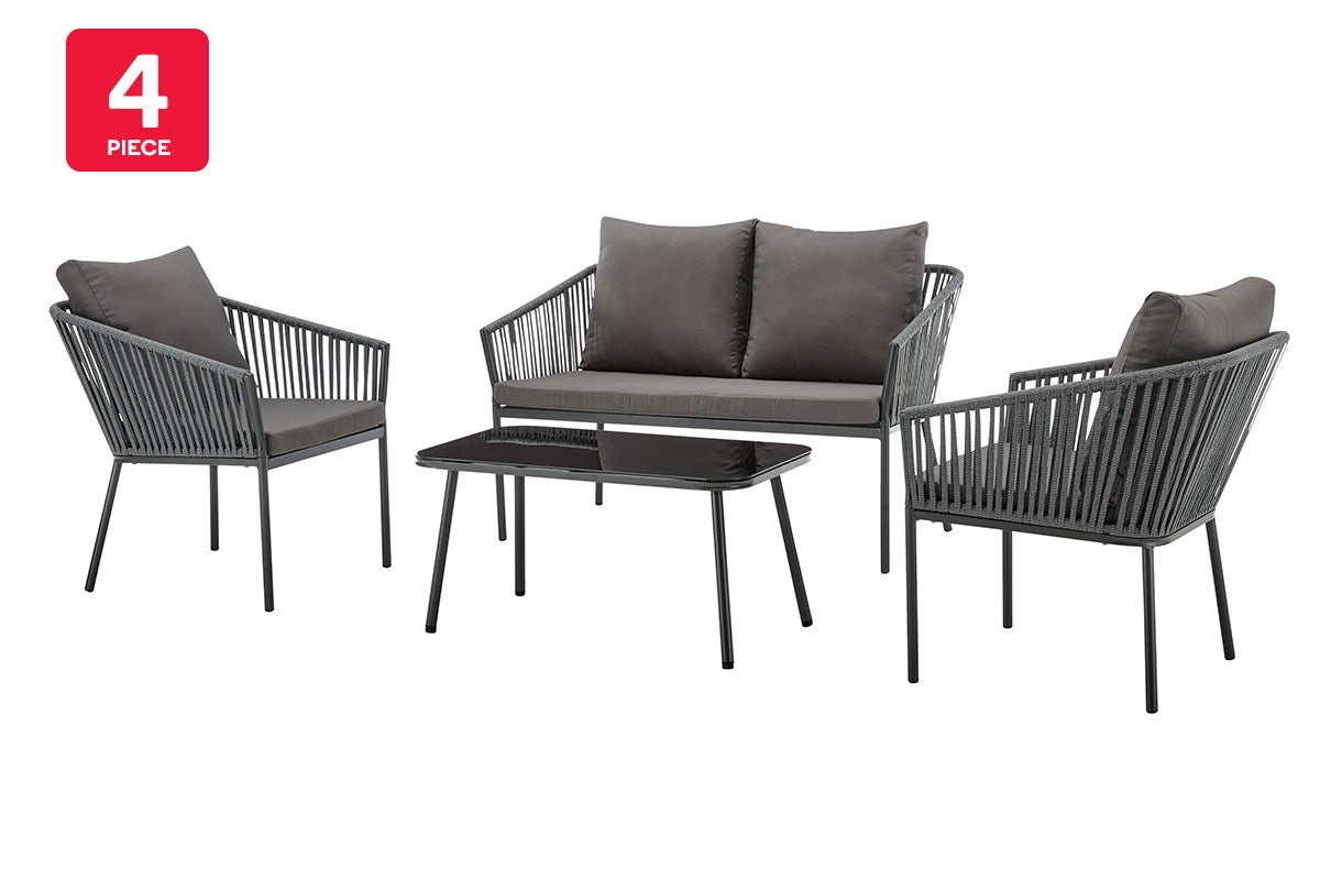 shangri la wellington rope detailed 4 piece outdoor furniture lounge set