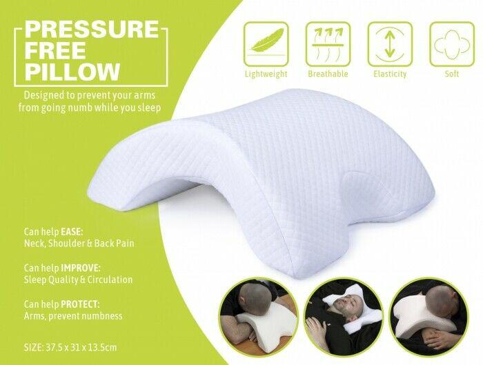pressure free pillow sleep ease to neck shoulder back improve sleep protect arms
