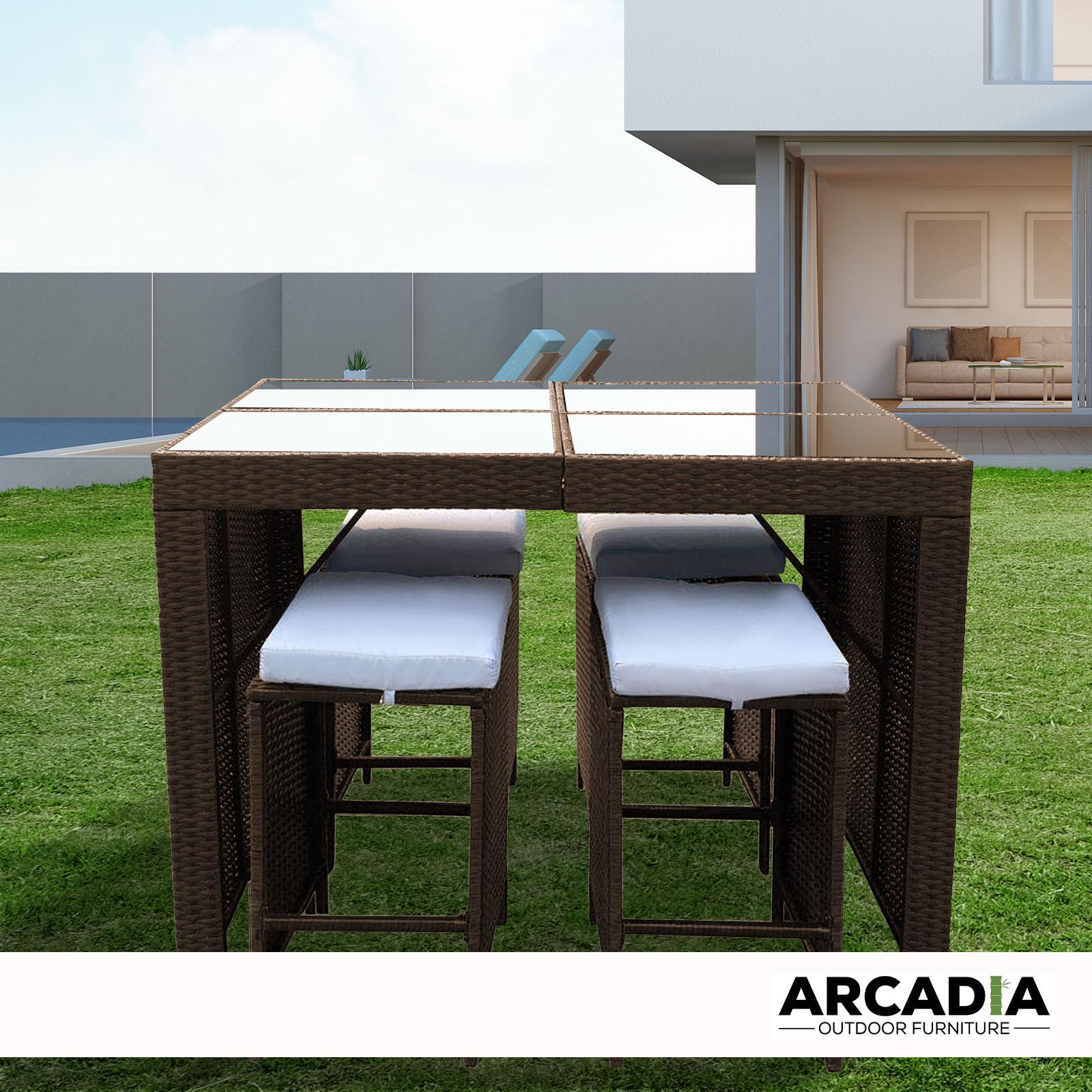 arcadia furniture outdoor 5 piece bar table set rattan and cushions patio dining oatmeal and grey patio furniture sets