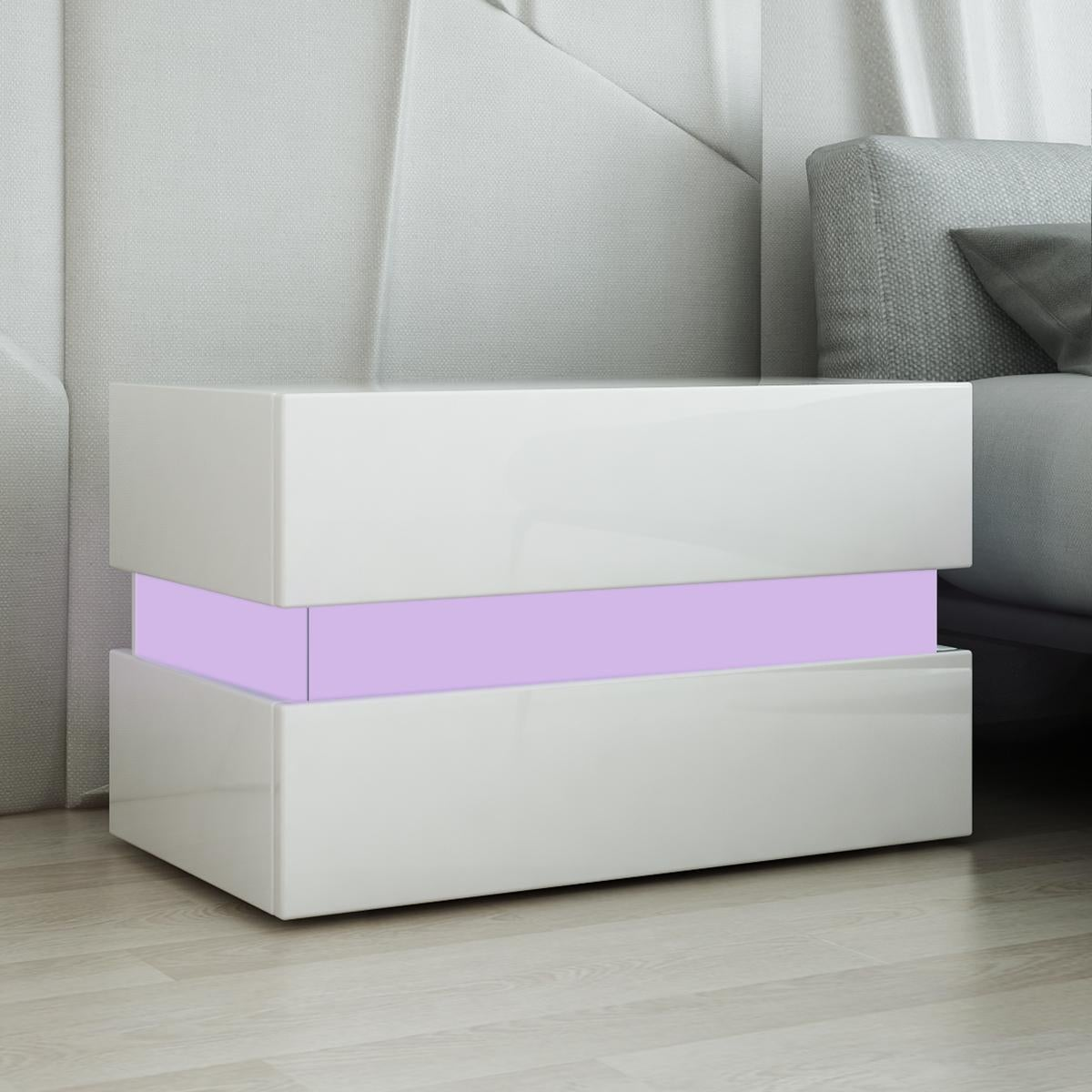 Dick Smith Bedside Table 2 Drawer Side Nightstand High Gloss Modern Bedroom Cabinet White Home Decor