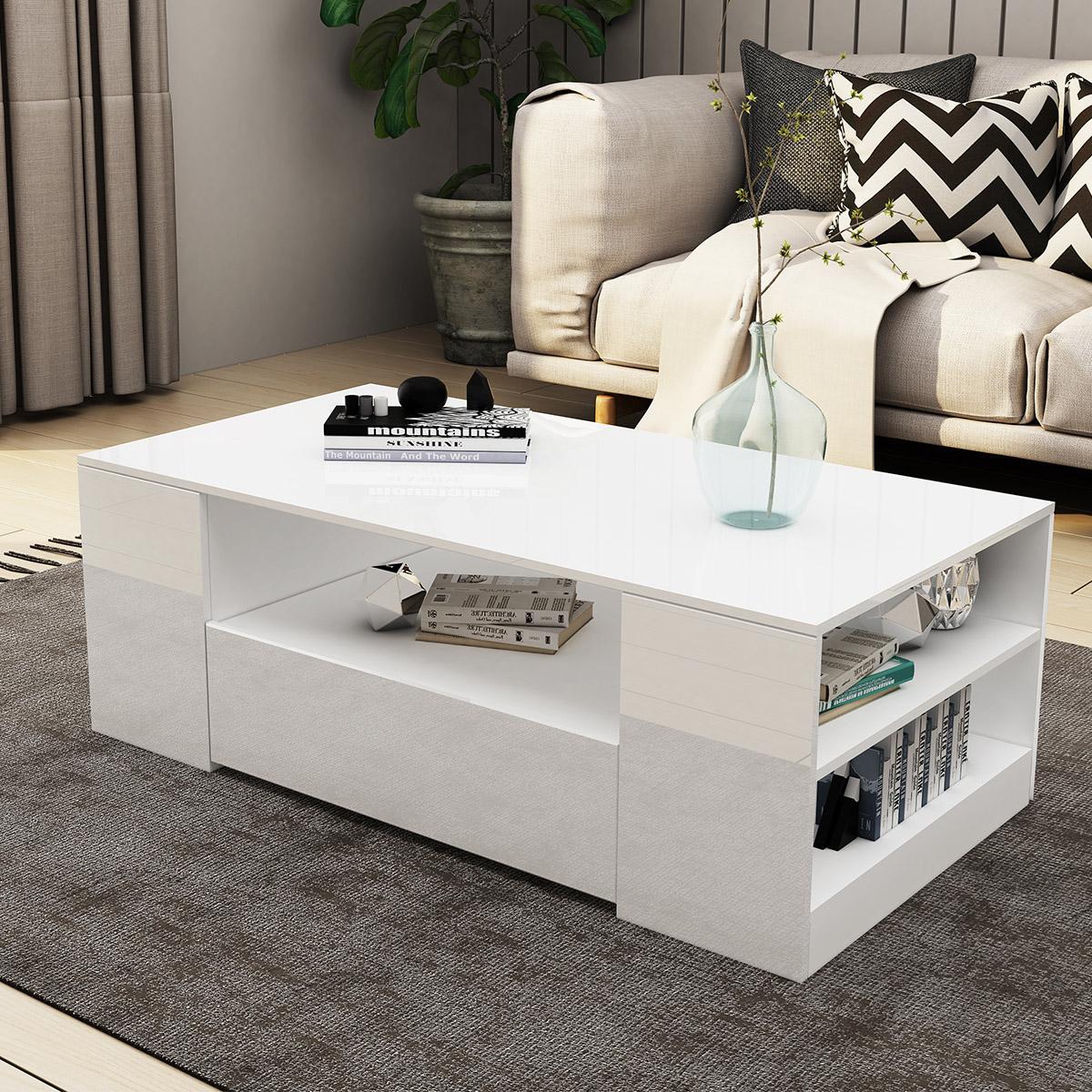 New 2 Drawer Coffee Table Storage Shelf High Gloss White Matt Blatt