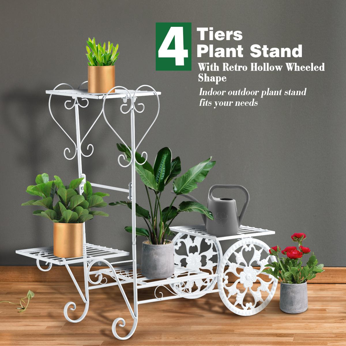 Metal Plant Stand 4 Tier Flower Pot Stand Indoor Outdoor Planter Shelf White Kogan Com