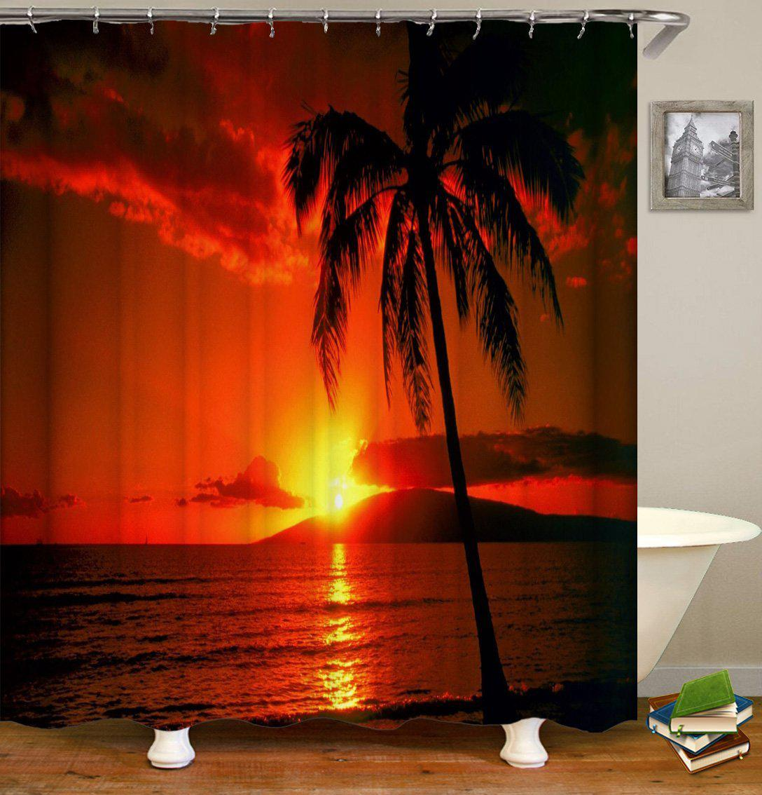 tropical sunset shower curtain 136cm 200cm 75cm 45cm set shower curtains