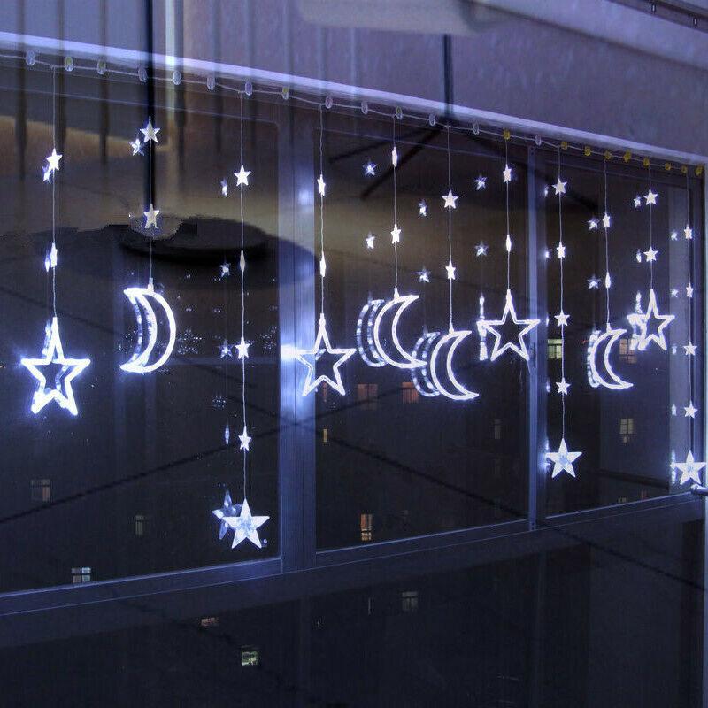 led plug in fairy string wall lights star moon curtain lights wedding xmas party