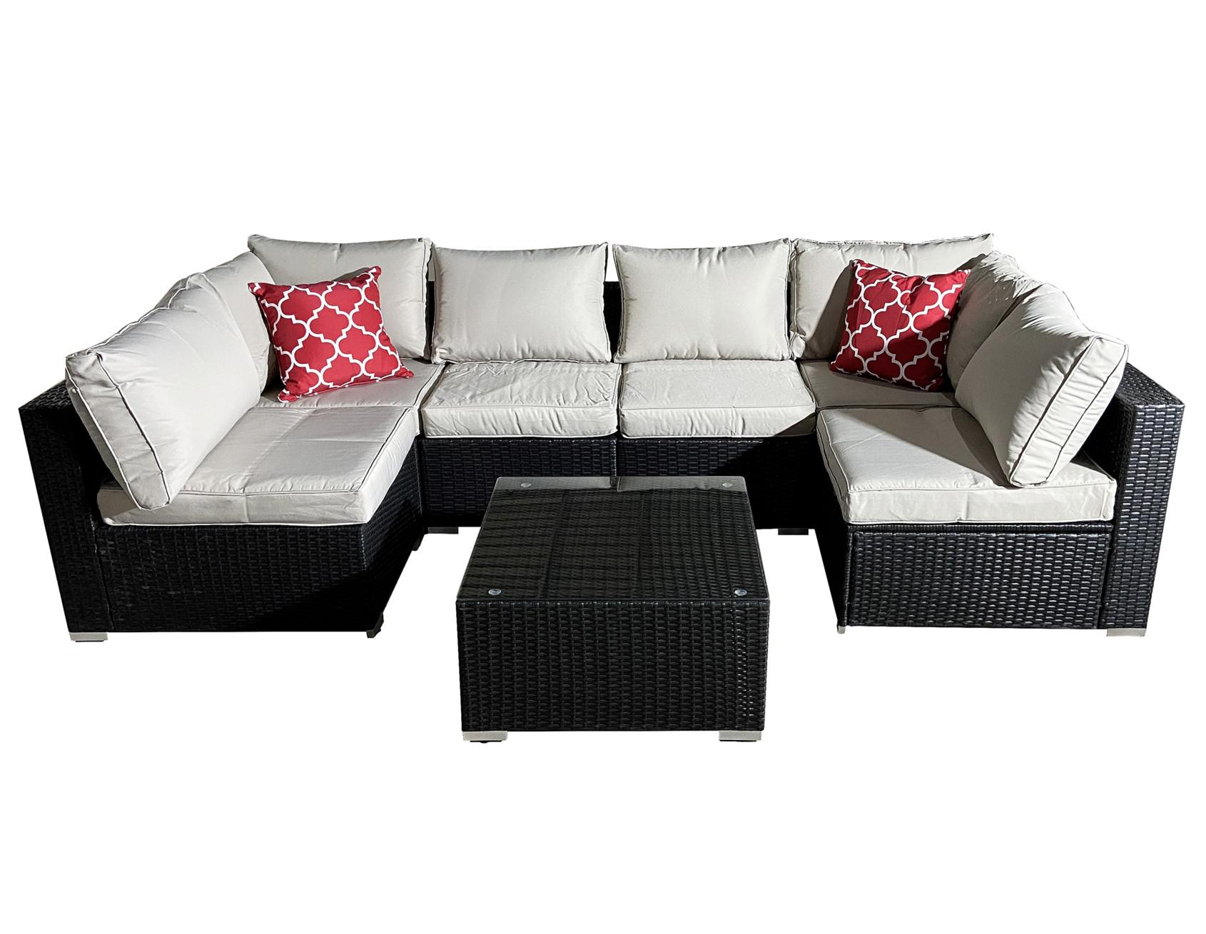 outdoor garden rattan sofa lounge set couch wicker table chairs patio furniture 7 pieces