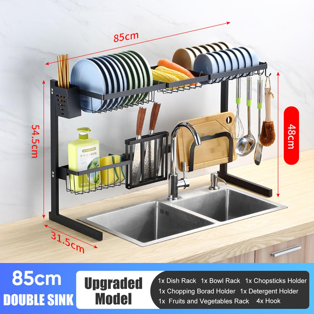 65cm 85cm 2 tier stainless steel over sink dish drying rack kitchen home holder black type c upgrated 85cm