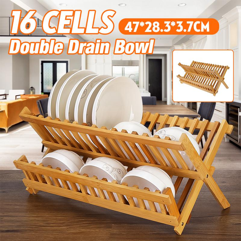 16 grids double collapsible dish drying rack bamboo kitchen folding dish rack plate holder compact foldable dish drainer drain rack solid wood