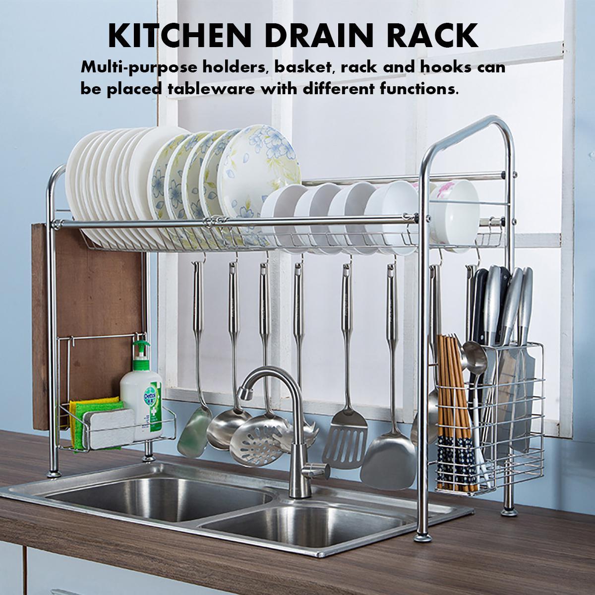 stainless steel dish rack over sink multi purpose dish drying rack kitchen shelf storage dish drain rack with basket chopstick holder cutting
