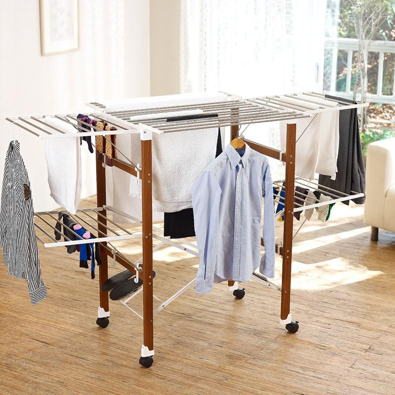 extra large heavy load sturdy foldable clothes drying rack white