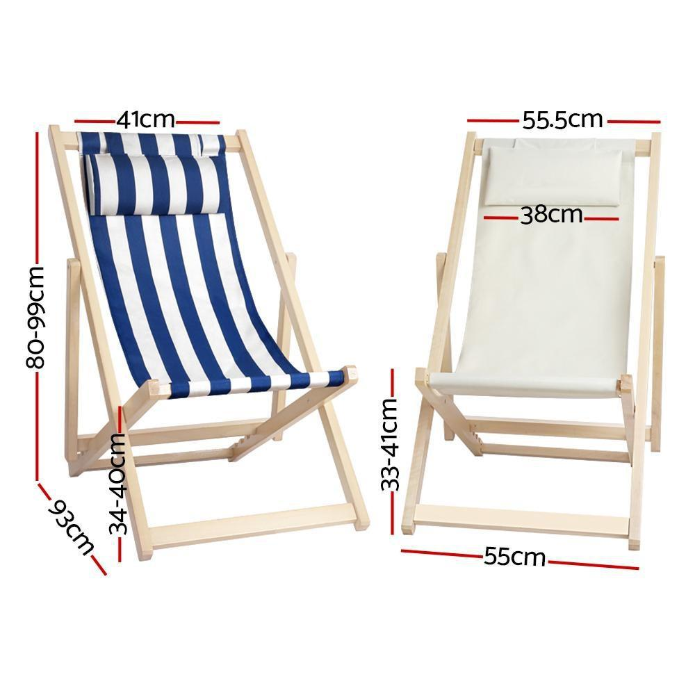 outdoor furniture sun lounge foldable patio beach sling deck chairs wooden blue white