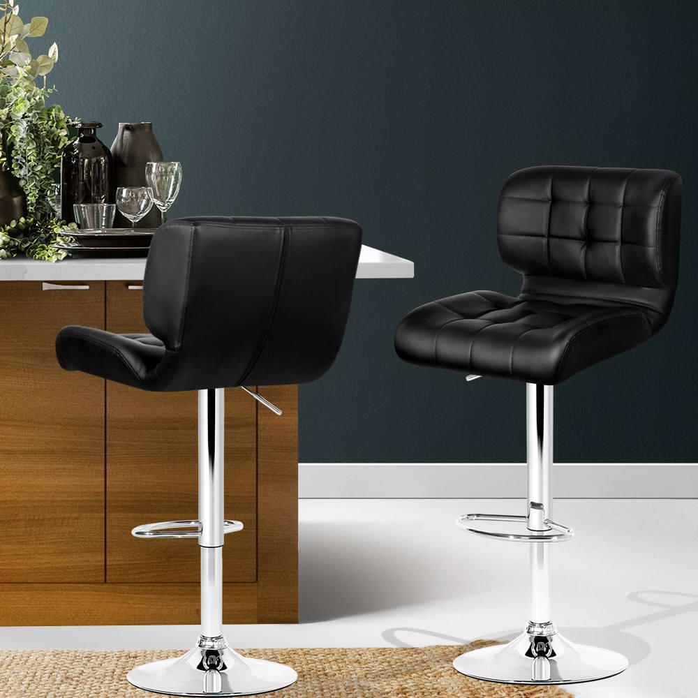 Artiss 2x Bar Stools Pu Leather Chrome Kitchen Bar Stool Chairs Gas Lift Black Matt Blatt