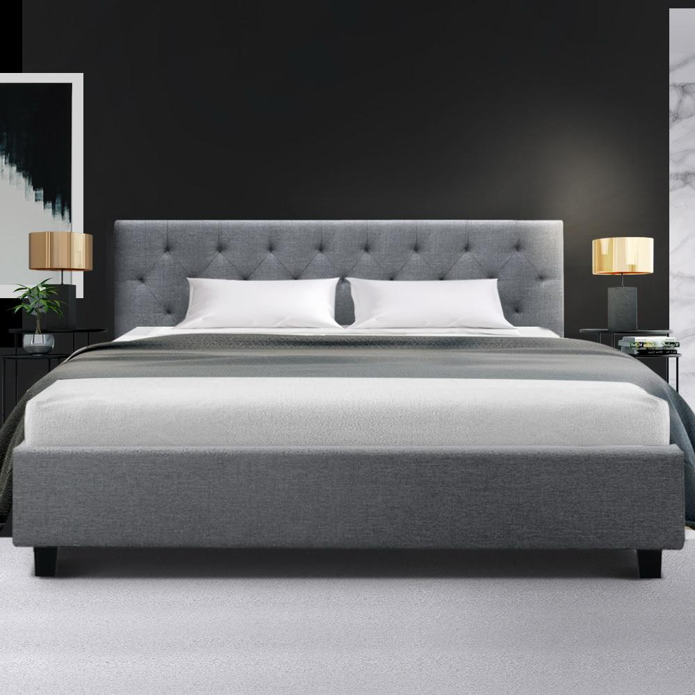 artiss bed frame vanke collection grey king