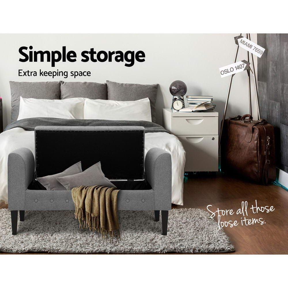 artiss storage ottoman with arms linen