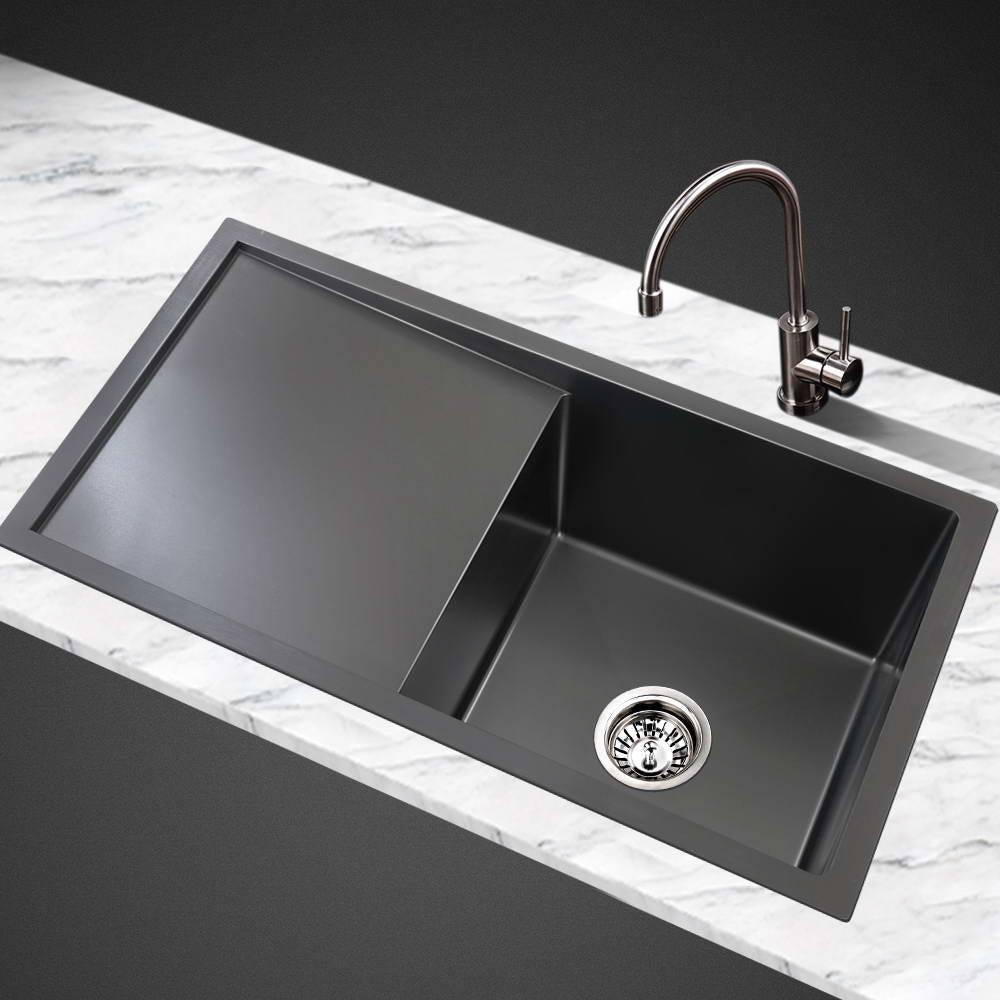 cefito kitchen sink stainless steel sink in black 750 x 450mm kitchen sinks