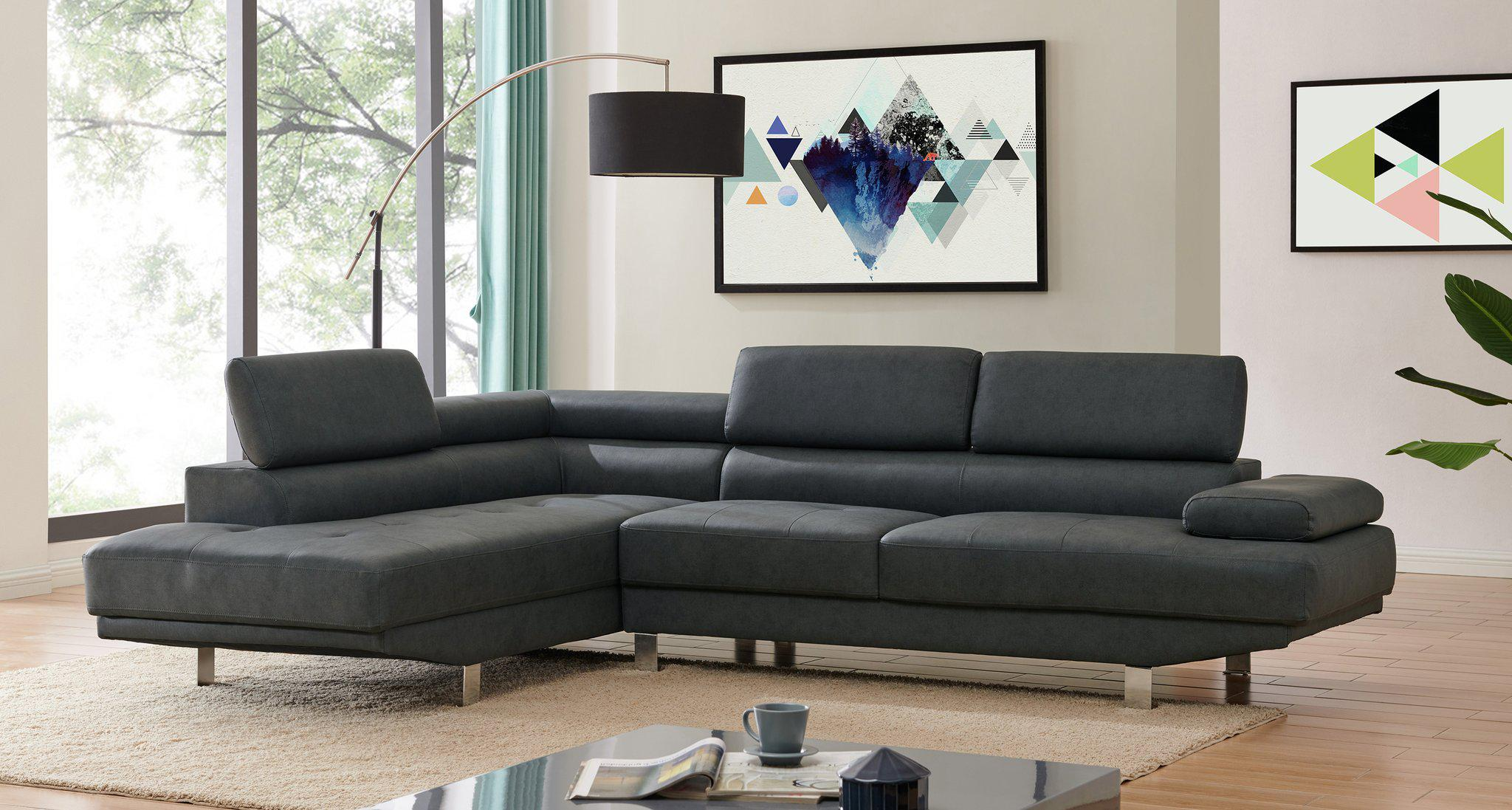 left corner 2 8m modern black fabric sectional sofa chaise lounge suite couch furniture