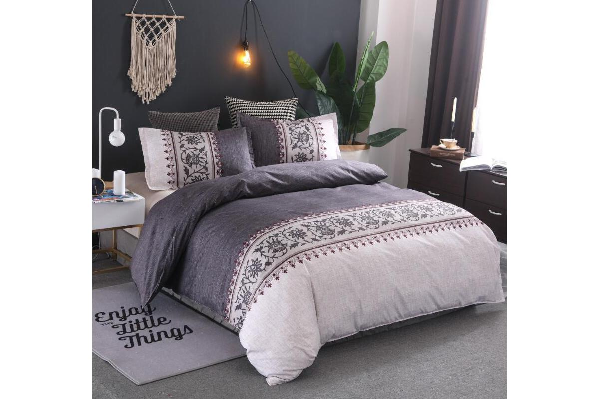 queen size 3pcs quilt cover pillowcases bedding set dark grey