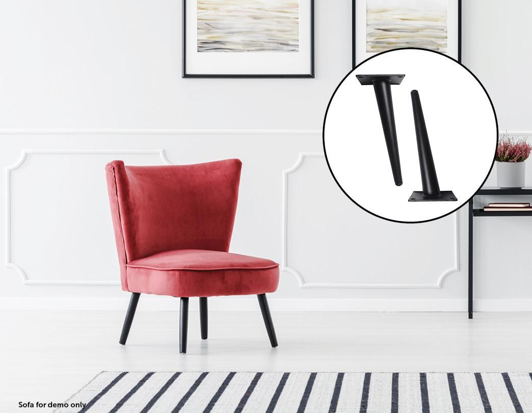 4 X 20cm Metal Furniture Legs Mid Century Retro Scandinavian Danish Sofa Feet Matt Blatt