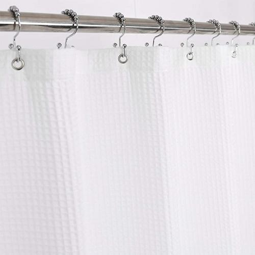 72wx96h white barossa design fabric shower curtain cotton blend 240cm long honeycomb waffle weave hotel luxury heavyweight spa washable