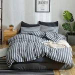 120cm X 180cm Duvet Cover 100 Washed Cotton Stripe Grey F Y Dreams 100 Washed Cotton Duvet Cover For Weighted Blanket 120cm X 180cm With 8 Ties Zipper On Long Side Stripe Grey Just Duvet Cover