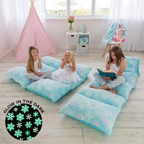 light blue snowflakes colux 3 in 1 glow in the dark floor pillow cover for kids cover only fold out chair bed boy girl pillow beds kids