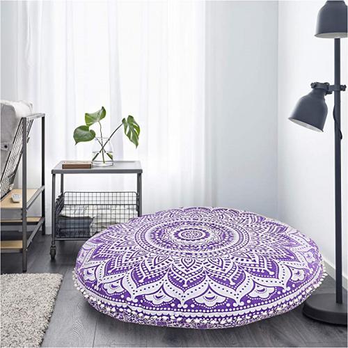 chakra purple bohemian cushion only cover round ottoman mandala floor pillows pouffe cover mandala floor pillow cover