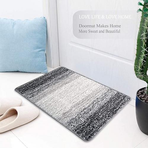 50cm X 80cm Gray Julone Indoor Doormat Front Door Mat Non Slip Rubber Backing Absorbent Mud
