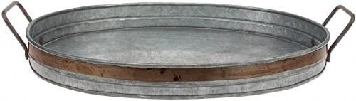 medium stonebriar galvanised metal serving tray with rust trim and metal handles unique butler tray decorative centrepiece for coffee table or