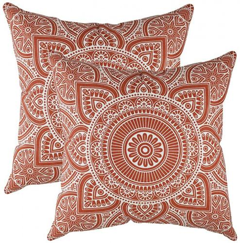 60cm x 60cm rust treewool pack of 2 throw pillow cover mandala accent 100 cotton decorative square cushion cases 22 x 22 inches 55 x 55