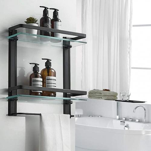 besy heavy duty lavatory glass bathroom shelf 2 tier tempered glass shower shelves with towel bar wall mounted shower storage 38cm by 13cm matte