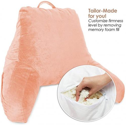 medium peach clara clark bed rest reading pillow with arms and pockets for kids teens adults premium shredded memory foam medium peach